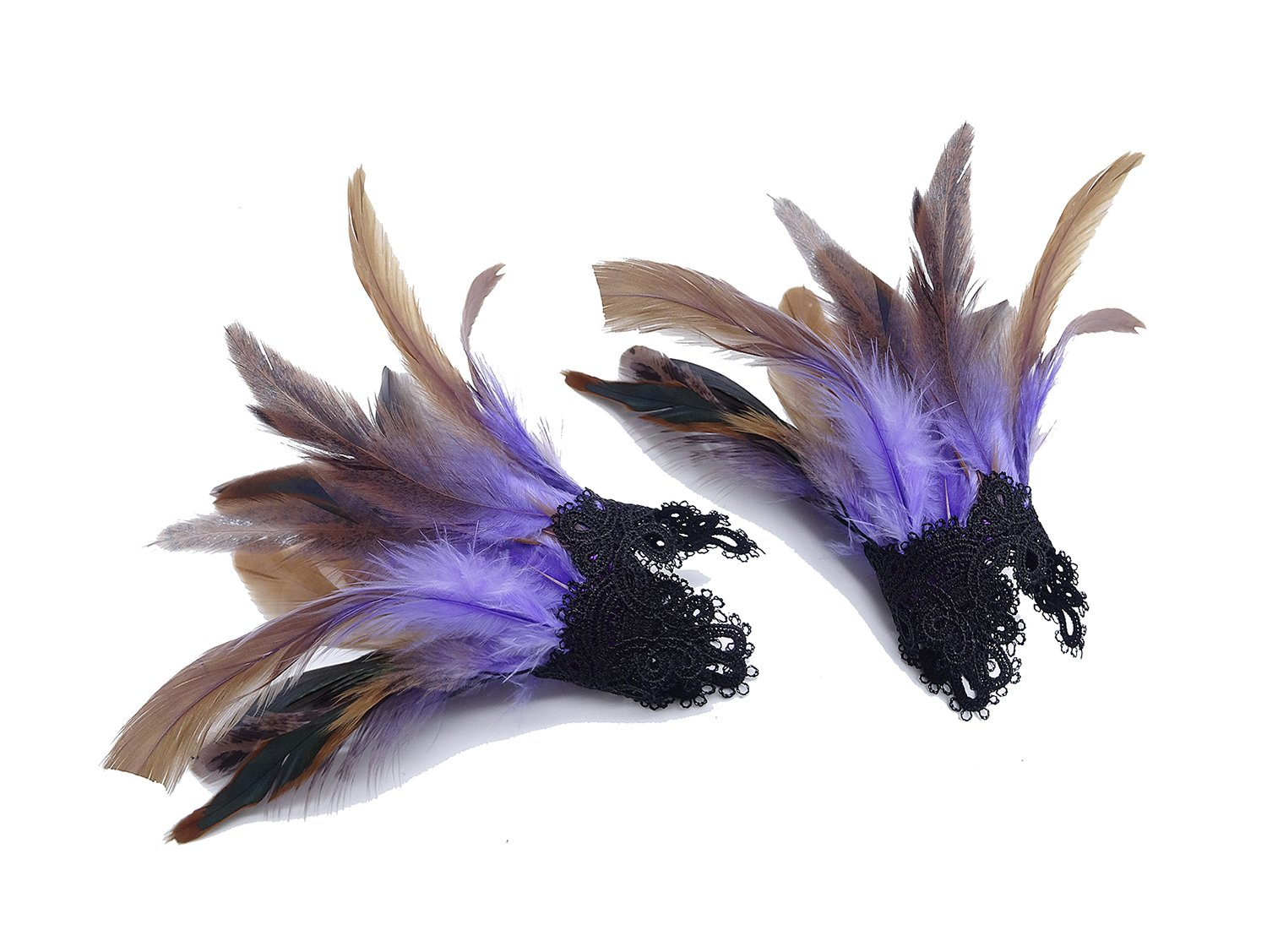 L'vow Real Nature Feather Cuffs For Game Party Halloween Pack Of 2