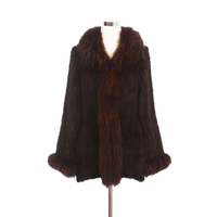 2019 autumn and winter new casual Woman Coffee color Knitted Real Mink Fur coat long with Big Raccoon Fur collar