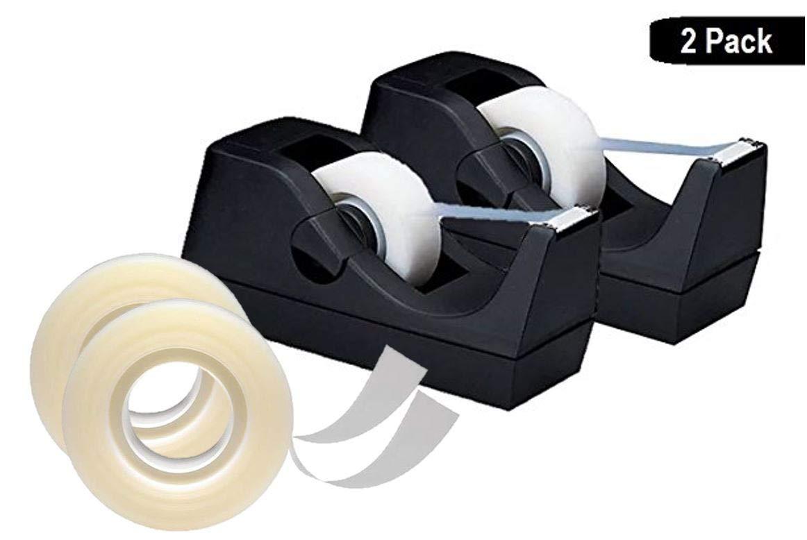"1InTheOffice Desktop Tape Dispenser, Black""2 Pack"" with 2 Clear Transparent Tape roll"
