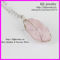 KJL-BD5422 Nature rose quartz pendant necklace,silver wire wrapped gems druzy quartz pendant necklace