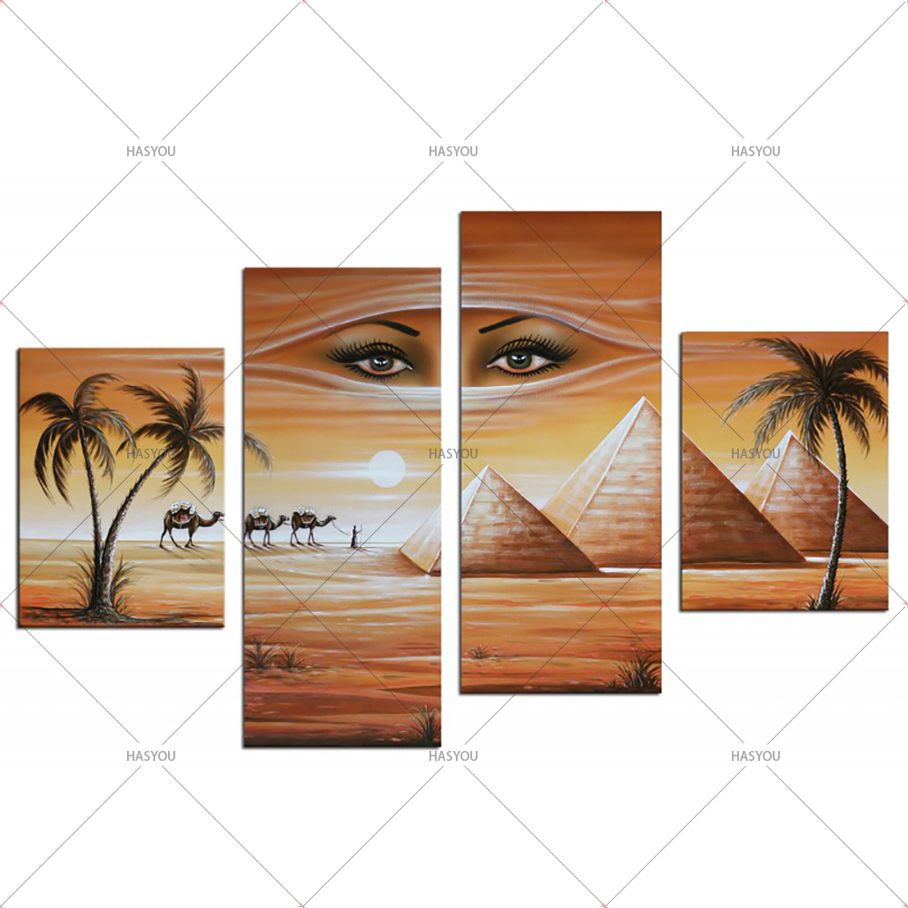 Fantasy-Oil-Painting-Egyptian-Pyramids-Landscape-Hand-Painting-Calligraphy-on-Canvas-Wall-Pictures-4-Pieces-Pictures (5)