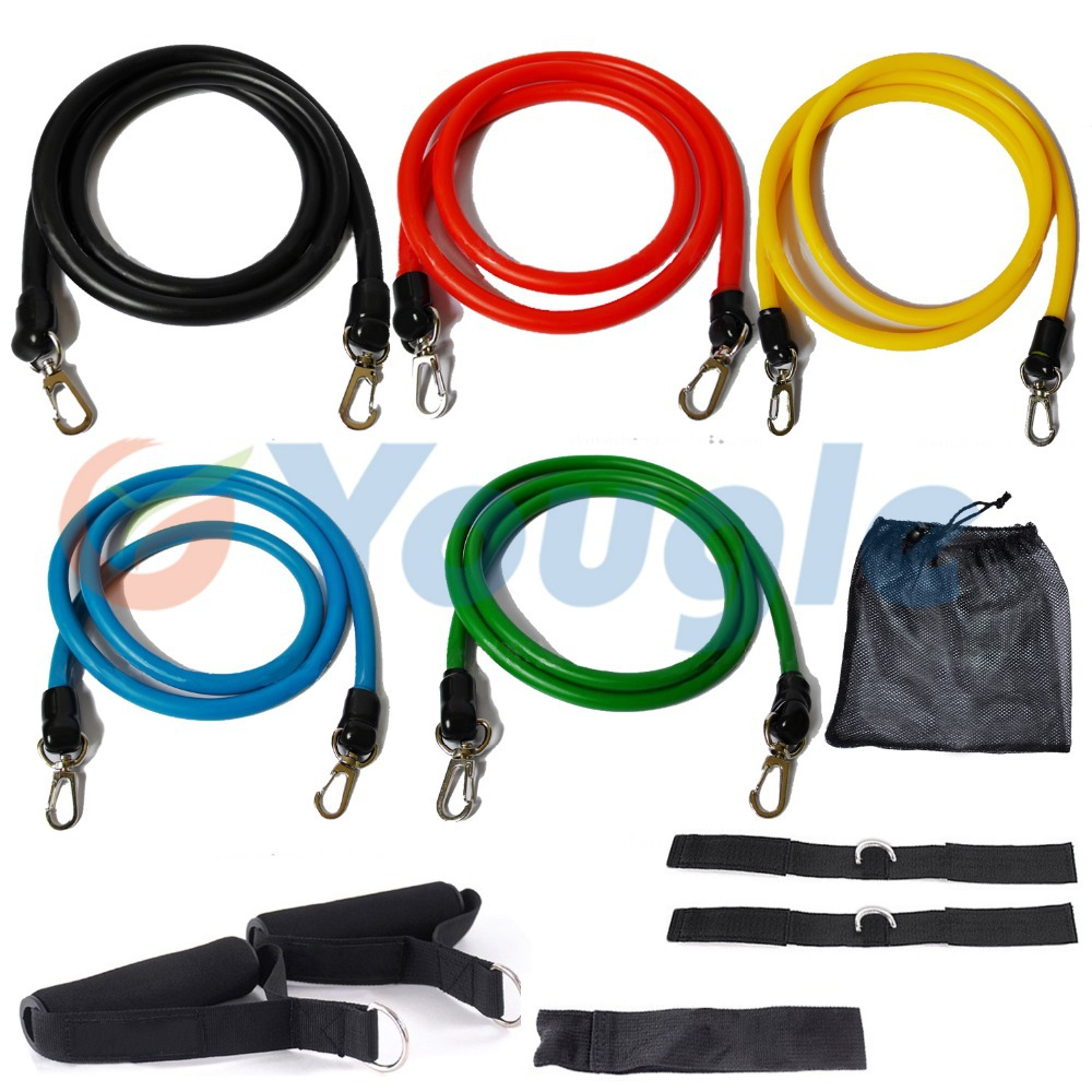 New 11 Pcs/Set Latex Resistance Bands Workout Exercise