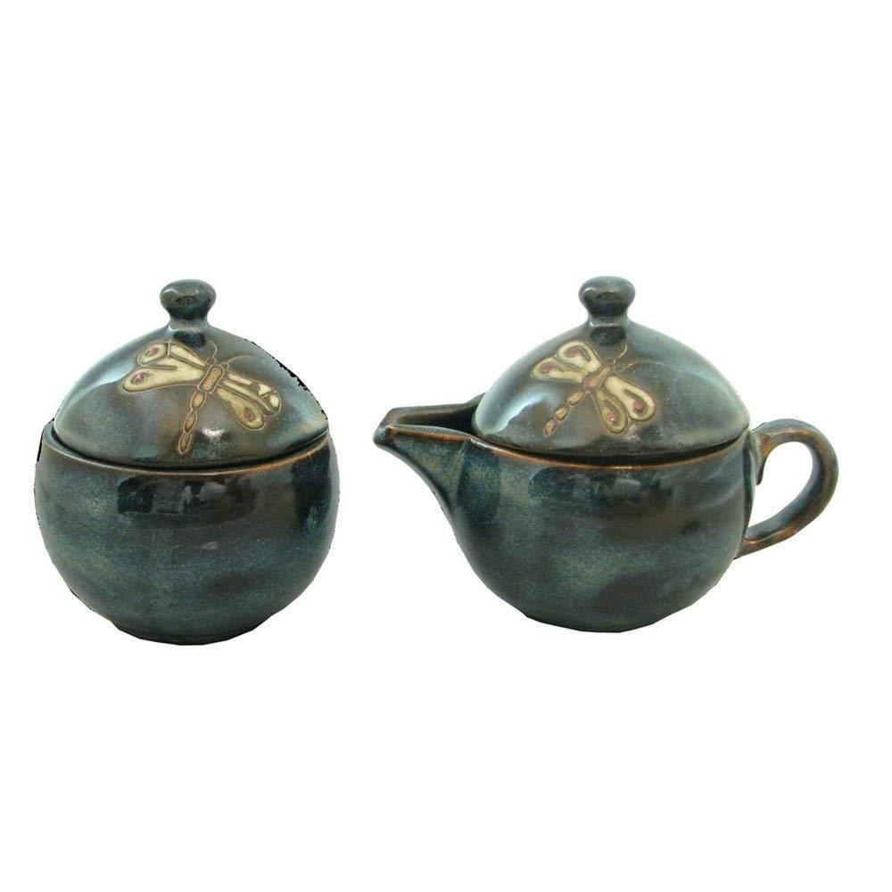 Mara Stoneware Collectible Creamer and Sugar Bowl - Mexican Pottery - Blue Dragonfly Design