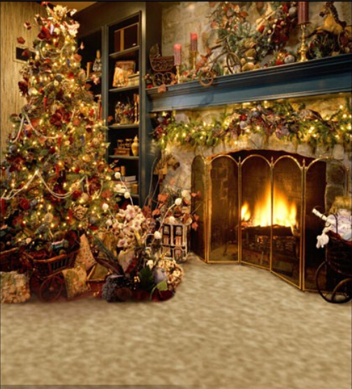 Vintage Christmas Tree Fireplace Backdrop 1 5x2m Computer