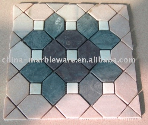 pink, green, black and white mosaic tile