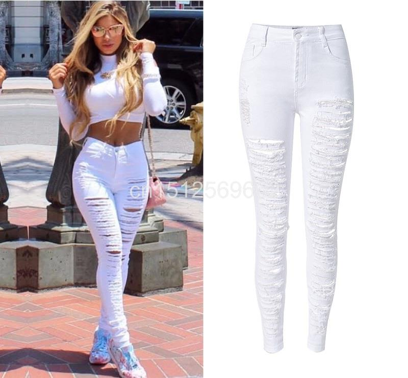 a66aeb26874f Detail Feedback Questions about Fashion Army Green/Black/White Sexy Ripped  Jeans Women Plus Size Distressed High Waist Jeans Ladies Skinny Jean Taille  Haute ...
