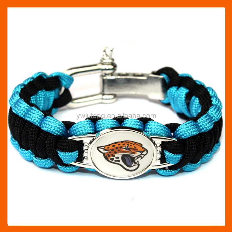 LT JEWELRY JACKSONVILLE JAGUARS BOWL SPORTS BRACELET ADJUSTABLE SURVIVAL BRACELET FOOTBALL BRACELET
