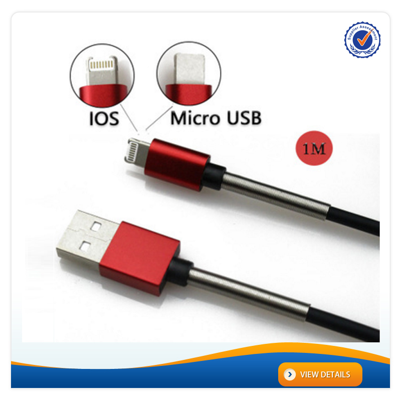 AWD201 2017 Wholesale 2 in 1 Both Charged Protected Spring Data Cable for Android for iphone 6 Cable Micro USB Cable