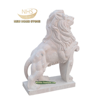 Customize Animal Life Size Freestanding Stone Garden Hand Carve Door Marble Sitting Lion Sculpture