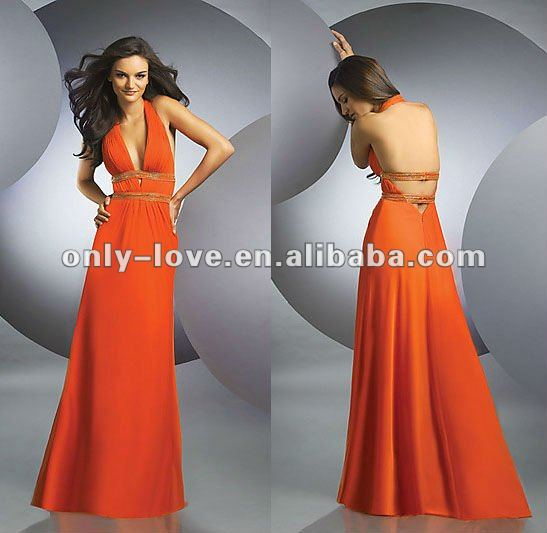2012 Sexy halter neck Deep V-neckline open-back evening gown OLE231