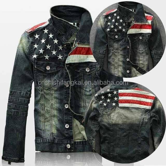 Usa American Flag Stars And Stripe Mens Denim Jean Jacket Coat ...