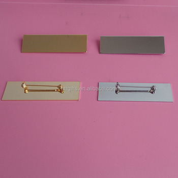 gold and silver blank name badges with safety pin buy blank name