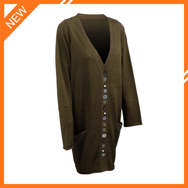 Brown V-neck Women Cardigan Sweater With Many Buttons