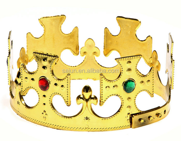 Yiwu factory sales cheap Adjustable Royal Crown with color stone for men