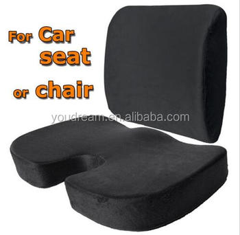 Seat Back Support Cushion Set Memory Foam Home Office Chair Lumbar