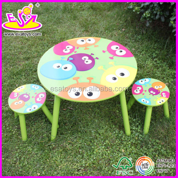 New and popular wooden table chair,modern children dining table and chair set toys,outdoor kids wood table and chair W08G039