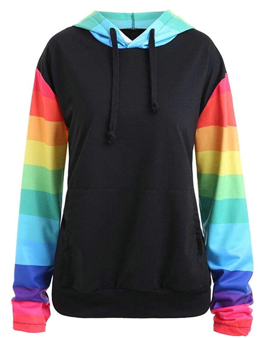 Beloved Womens Raglan Sleeve Hoodies Rainbow Color Stripe Pullover Sweatshirts Tops