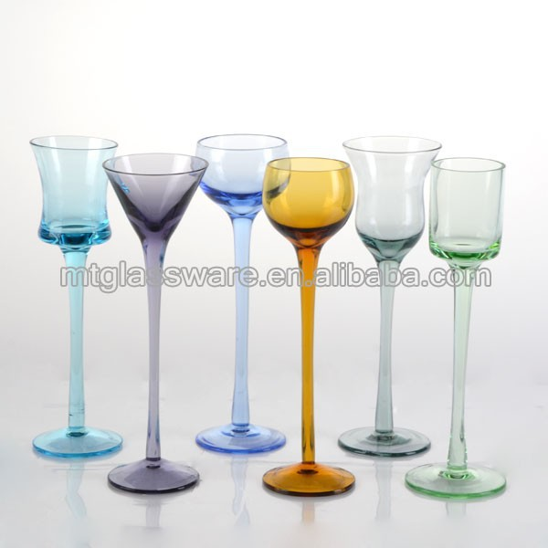 Different style colored long stem shot glass
