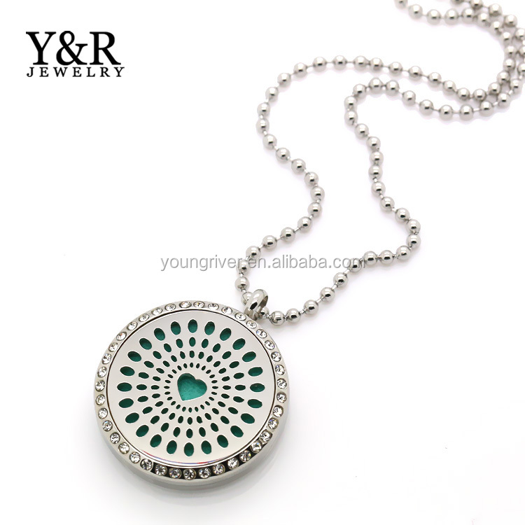 Multicolor Aromatherapy Essential Oil Diffuser Stainless Steel Perfume Locket Pendant Necklace