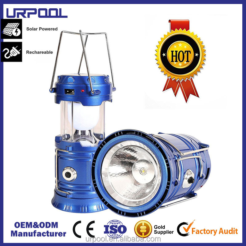 3-in-1 rechargeable solar LED Camping Lantern & portable outdoor survival ultra bright Lamp for fishing,emergency,hurricanes,hik