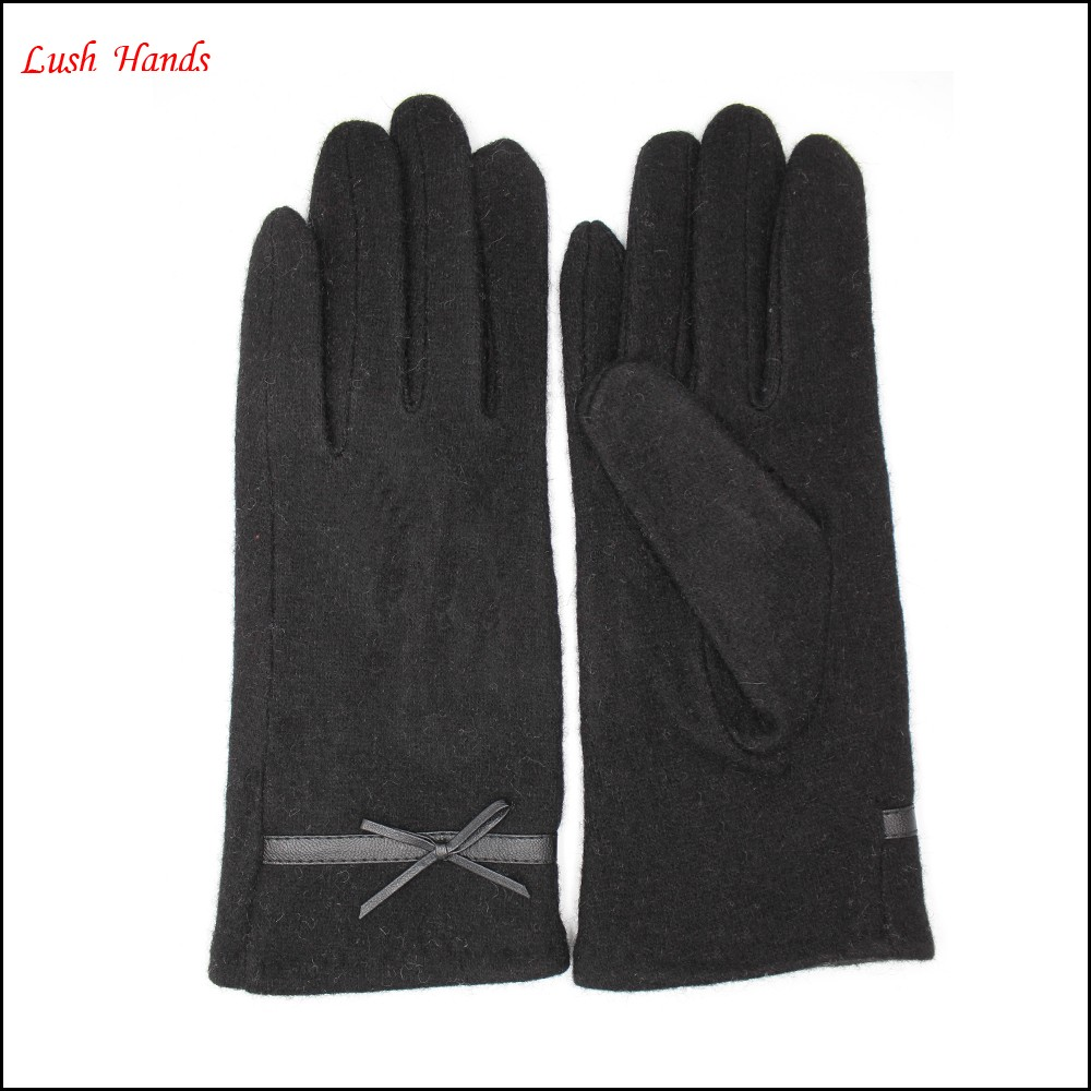 hot selling simple high- quality woolen gloves with leather belt for women