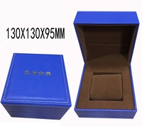 New design elegant leather watch box/case OEM PU leather handmade blue watch packaging boxes