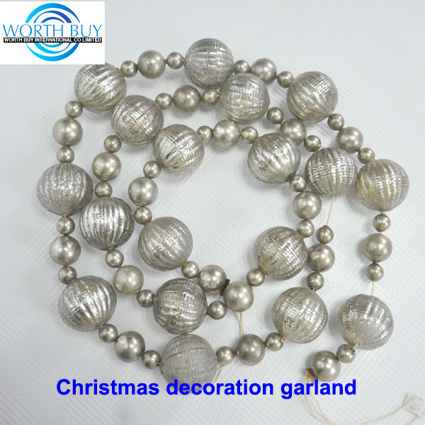 Vintage shiny grey glass beaded christmas ornament ball garland