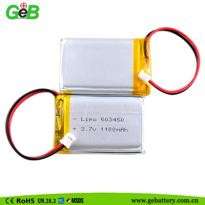 Deep cycle 603450 1100 mah battery 3.7v lithium polymer agm battery