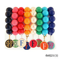 handmade beads stretch monogram enamel circle clip-on bracelet