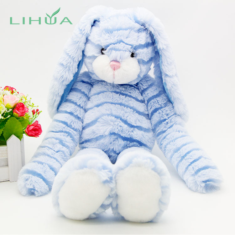 Custom Blue Plush Stuffed Long Ear Bunny Rabbit Toy