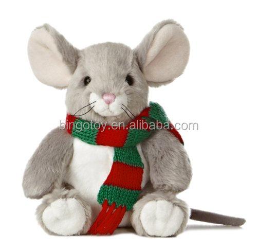 Christmas Stuffed Grey Mouse Plush Toys With Scarf Buy Plush