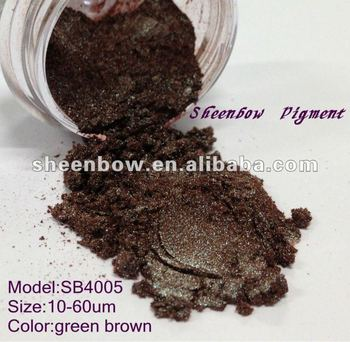 Green brown metallic luster pigment for coating