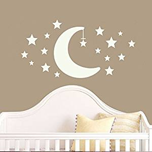"Wall Decal Decor Moon and Stars Wall Decal Set- Childrens Wall Decals Nursery Wall Decals Star Wall Stickers Neutral Nursery Decor(22""h x43""w,White)"