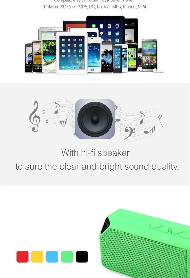X3 Speaker Mini Wireless Portable Speaker With TF FM Radio USB Input Music Sound Box Loud speaker for Mobile Phone PC