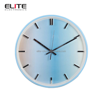 home decor color changing round wall clocks with metal frame