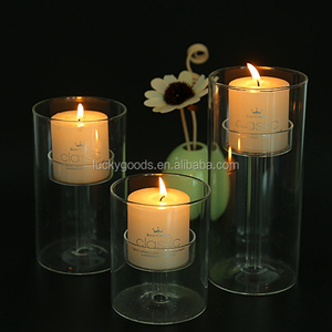 LGJ045 fashionable wedding banquet glass hurricane candle holders