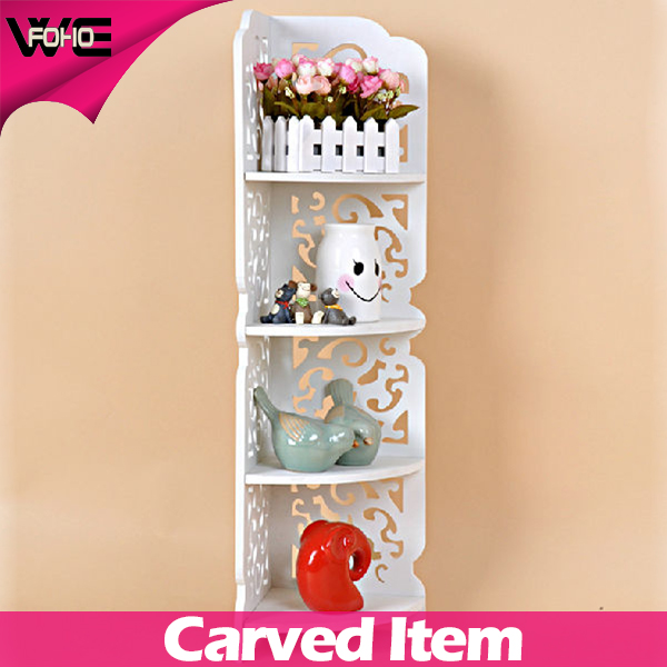 4 tiers exquisite hollow out storage shelf / flower shelf,Decorative wooden corner shelves