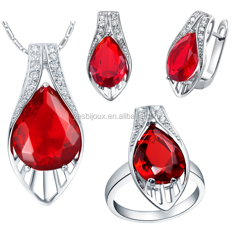 New Big ruby Zircon Necklace Jewelry Set Wedding