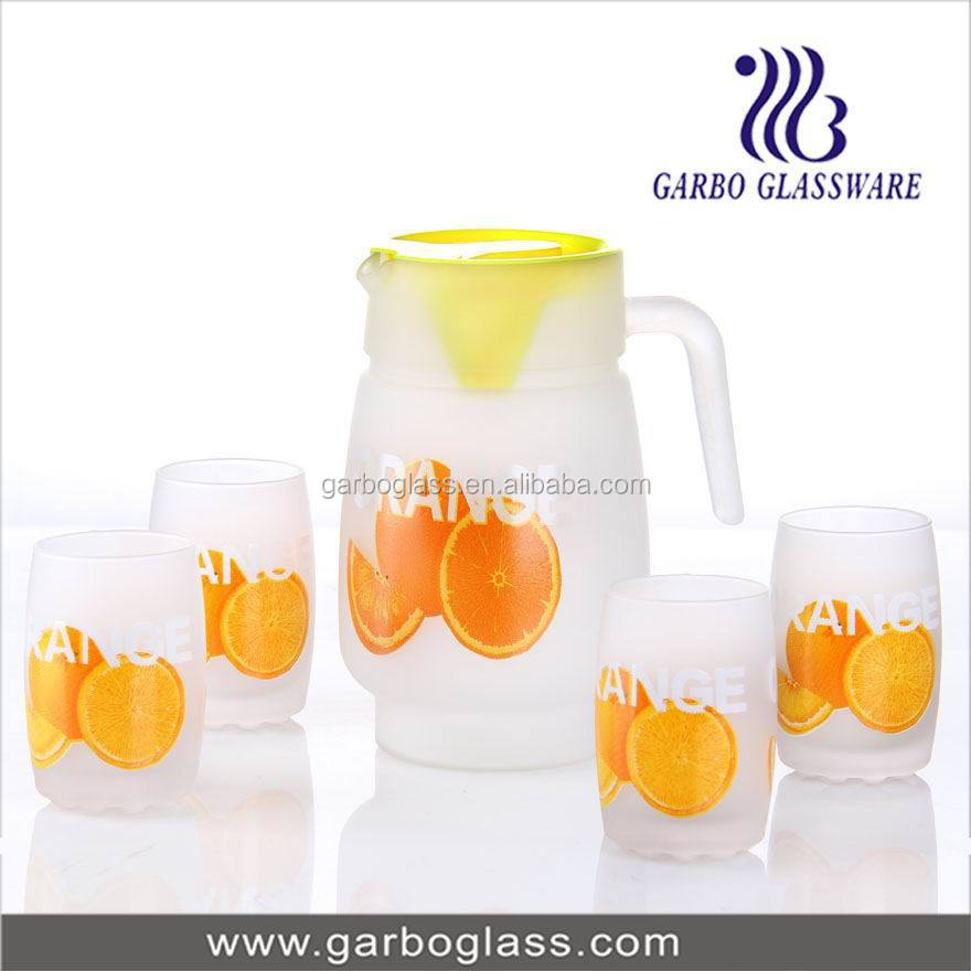 Fruit Design Printed Glass Jug Set,Glass Juice Pitcher Set,7pcs ...