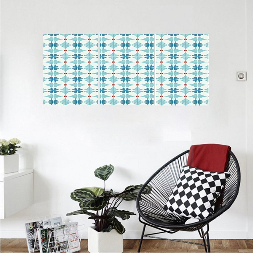 Liguo88 Custom canvas Ikat Decor Collection Exotic Floral Geometric Ikat Style Traditional Oriental Indigenous Classic Retro Decor Bedroom Living Room Wall Hanging Blue White Red