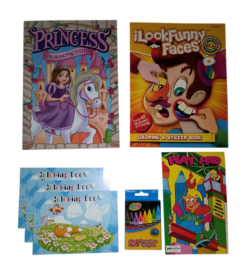 Princess Coloring Book Kids Funny Faces Sticker And Learning Activities Books 24 Ct