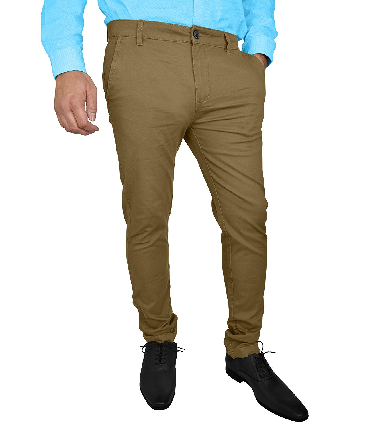 045b8ea3ae Get Quotations · westAce Mens Stretch Skinny Slim Fit Chino Pants Flat  Front Casual Super Spandex Trousers