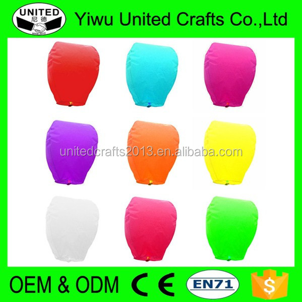 9 Colors Fire Biodegradable custom Sky lantern Flying Wedding Chinese Paper Lanterns