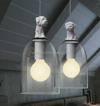 Modern Design Clear Glass Shade Led Down Lights Indoor Cord Hanging Pendant Lighting Fixtures With Cute Dog Carving Buy Cord Hanging Pendant