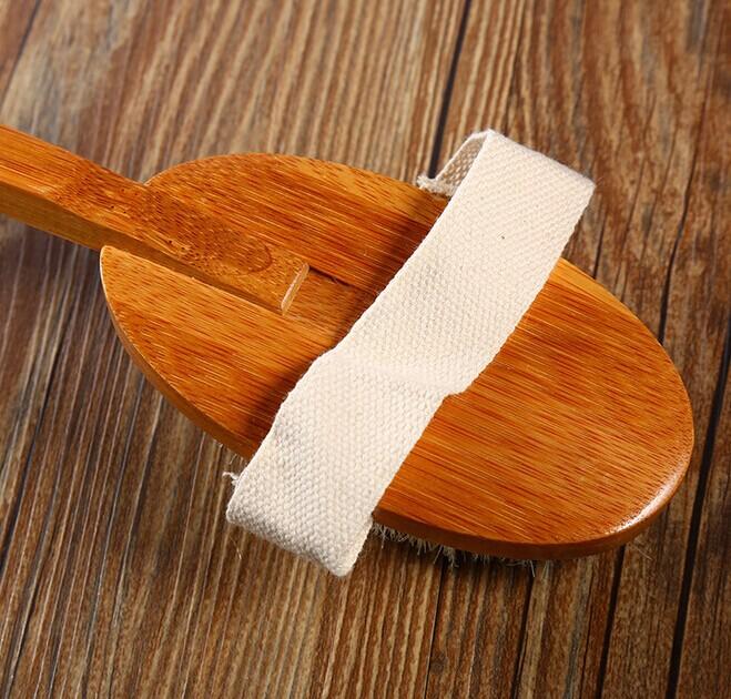 Bamboo long handle detachable bath brush bristle bath massage brush exfoliating brush