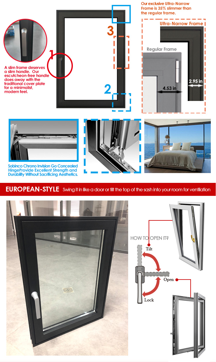 Factory direct supply modern residential windows architecture french
