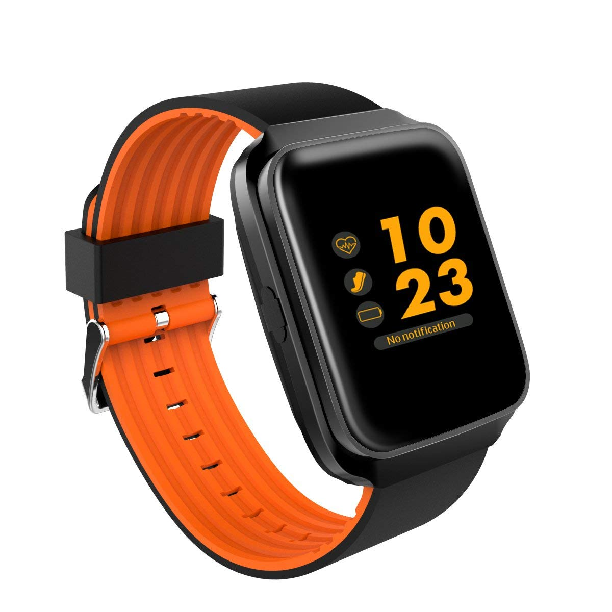 3C-Life HD Touchscreen Bluetooth Smart Watch with Sports/Heart Rate/Sleep Monitor/Blood Pressure/Sedentary Reminder/FB Tweeter for Man/Women/Kids [Black&Orange]