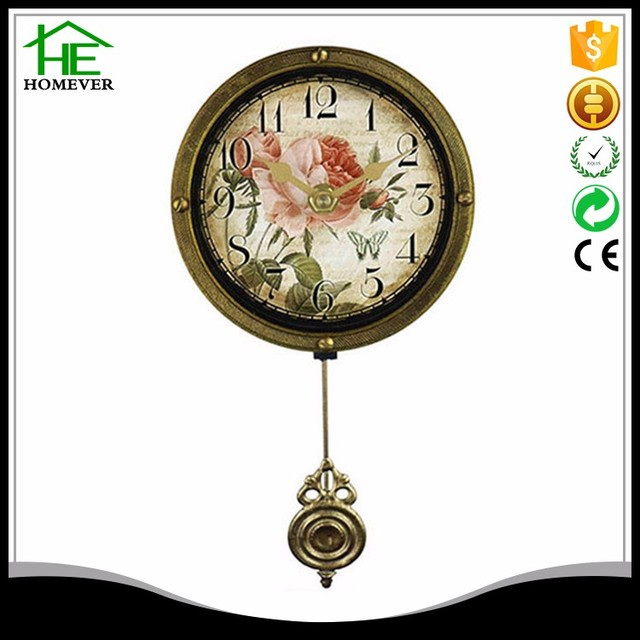 wholesale round retro wooden frame mdf wall pendulum clock for sale