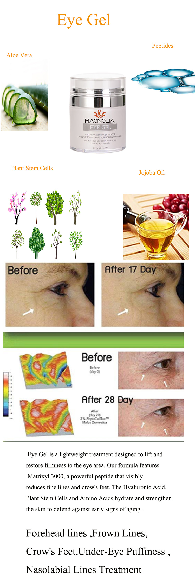 Eye Gel for Appearance of Dark Circles, Puffiness, Wrinkles and Eye Bags