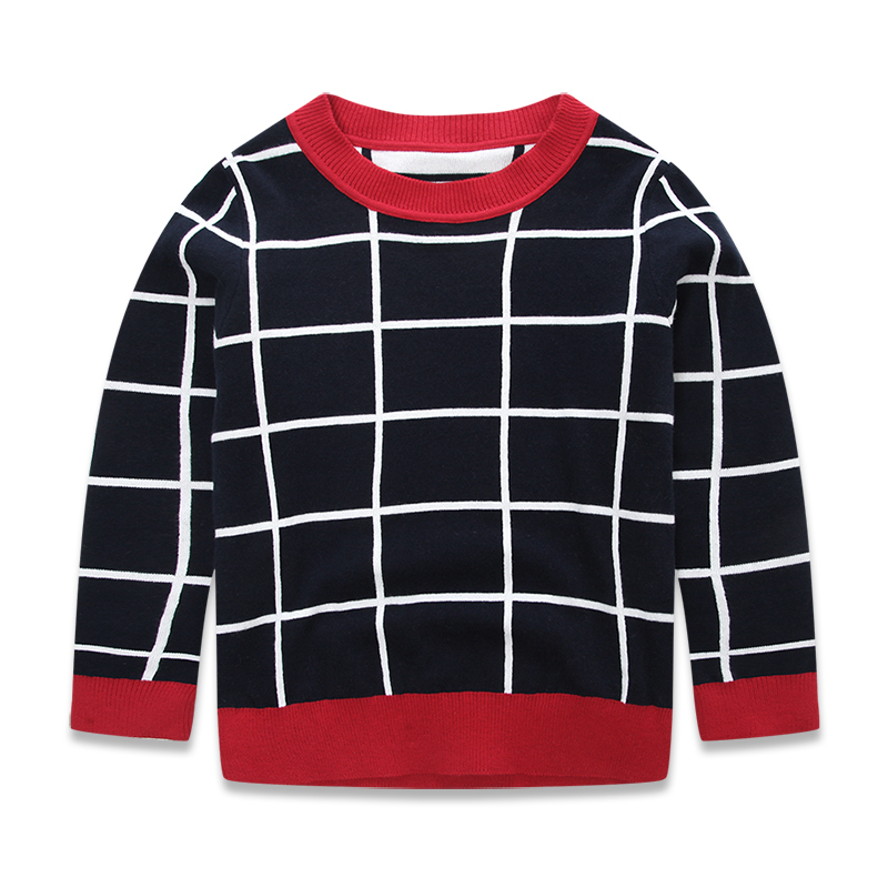 2-7 Years Old Toddler Clothing 2015 Brand Boys Casual Sweater Spring Autumn Fashion Long Sleeve Plaid Sweater For Boys Navy Blue